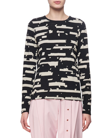 Printed Long-Sleeve Tissue Jersey Top, Black/White