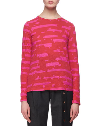 Printed Long-Sleeve Tissue Jersey Top, Pink/Red