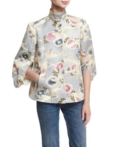 Floral-Print Mandarin-Collar Topper