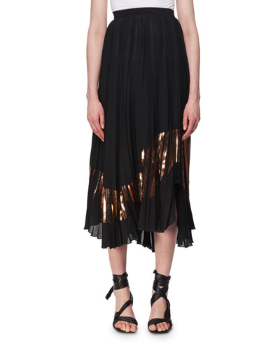 Plisse Foil-Trim Midi Skirt
