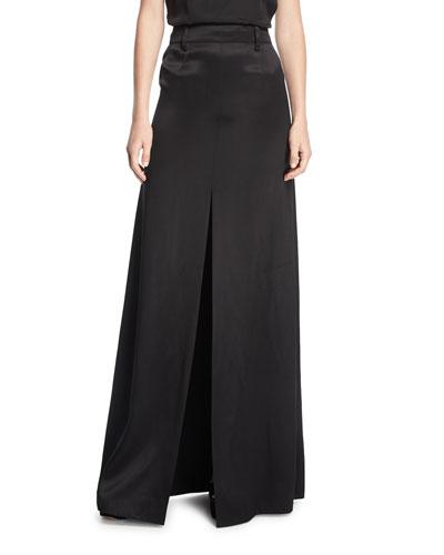Long A-Line Satin Skirt