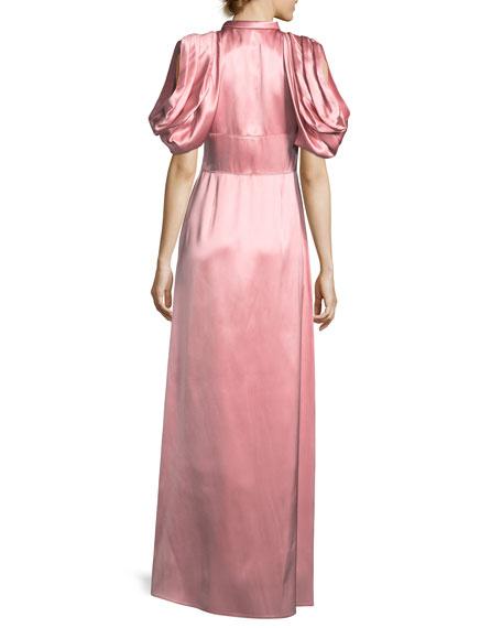Satin Drape-Shoulder Keyhole Gown