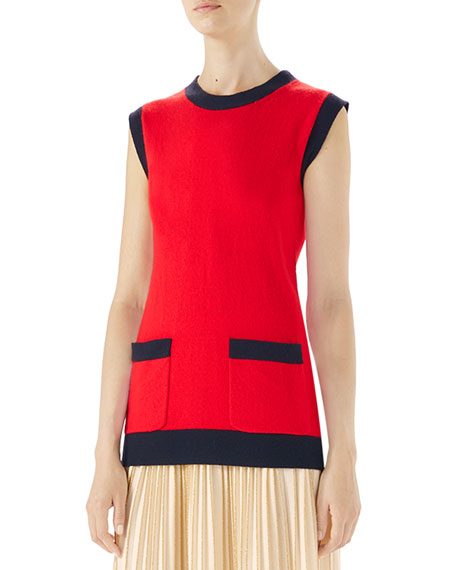 Two-Tone Wool And Cashmere-Blend Top in Red