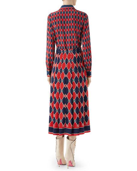 GG Rhombus Crepe de Chine Skirt