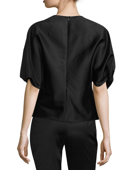 Satin Twist-Sleeve Blouse