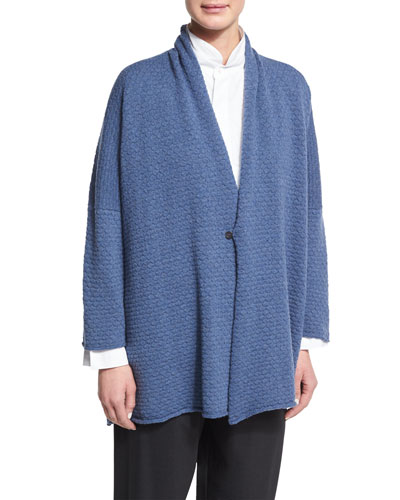 One-Button Scrunch-Collar Cardigan