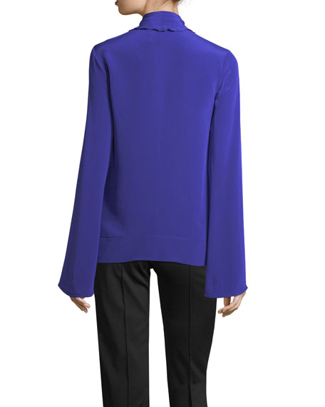 Ruffled Scarf-Neck Silk Blouse