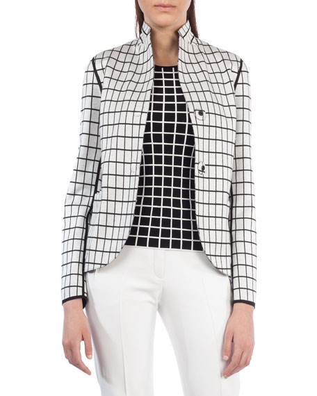 Dot-Press Stand-Collar Reversible Grid Pattern Blazer