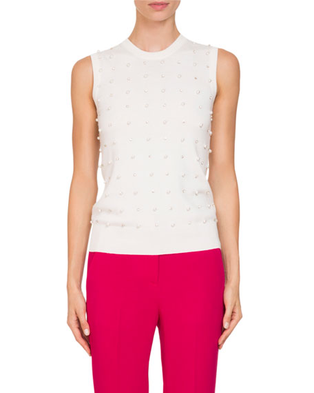 Crewneck Embellished Sleeveless Wool-Cashmere Shell