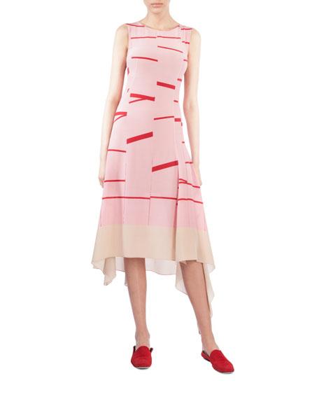 Sleeveless Broken Stripe Midi Dress