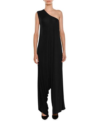 One-Shoulder Wide-Leg Knit Jumpsuit