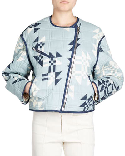 Lazel Zip-Front Origami-Printed Quilted Jacket
