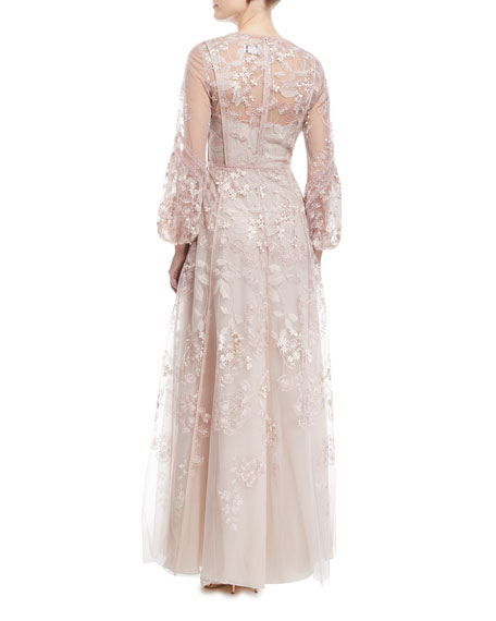 Bishop-Sleeve Floral Lace Gown