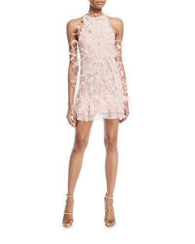 Glitter & Feathered Silk Dress