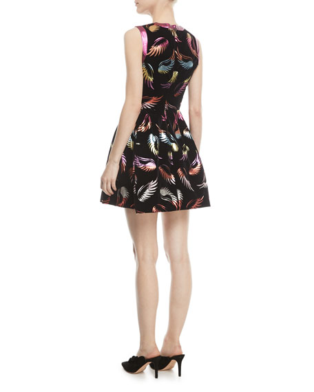 Sparrow Sleeveless Metallic Feather-Print Mini Dress