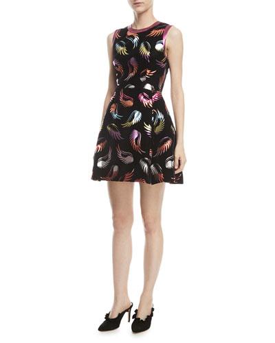 Sparrow Sleeveless Metallic Feather-Print Mini Dress
