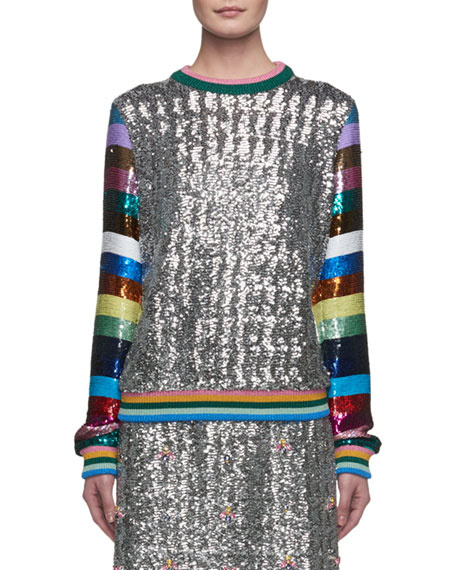 Magpie Sequined Stripe-Sleeve Crewneck Sweater