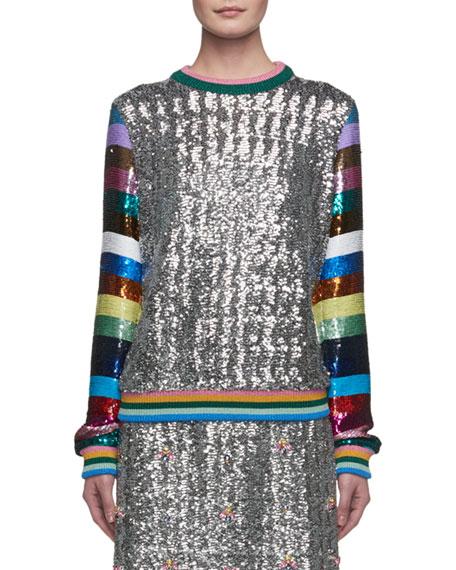 Magpie Sequined Stripe-Sleeve Crewneck Sweater