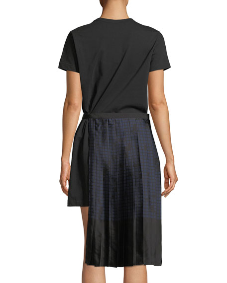 Burnout Grid-Print Shirtdress