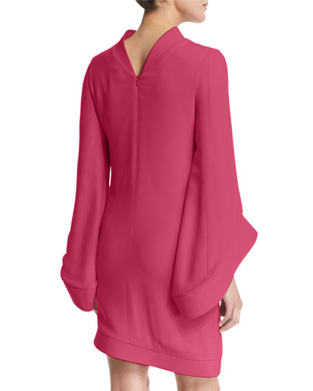 Mock-Neck Bell-Sleeve Dress