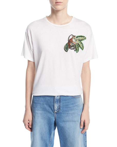 T-Shirt with Beaded Monkey