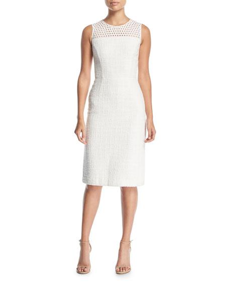 Sleeveless Eyelet Sheath Dress