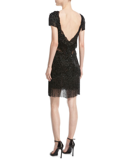 Beaded Short-Sleeve Fringe Cocktail Dress