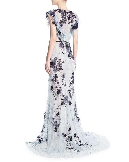 Beaded Cap-Sleeve Chiffon Gown