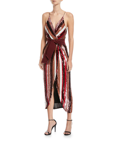 Striped-Sequin Camisole Cocktail Dress