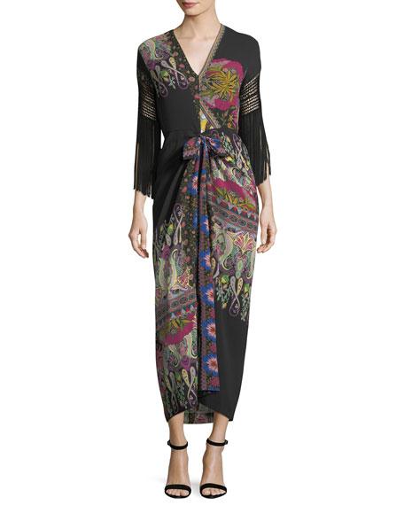 Fringe-Sleeve V-Neck Paisley Silk Midi Dress
