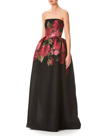Hydrangea Fil Coupe Strapless Jacquard Ball Gown