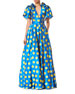Short-Sleeve Polka Dot Taffeta Gown