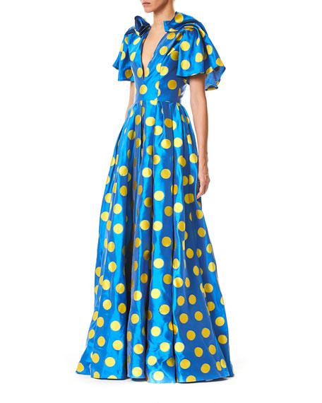 Short-Sleeve Polka Dot Taffeta Gown
