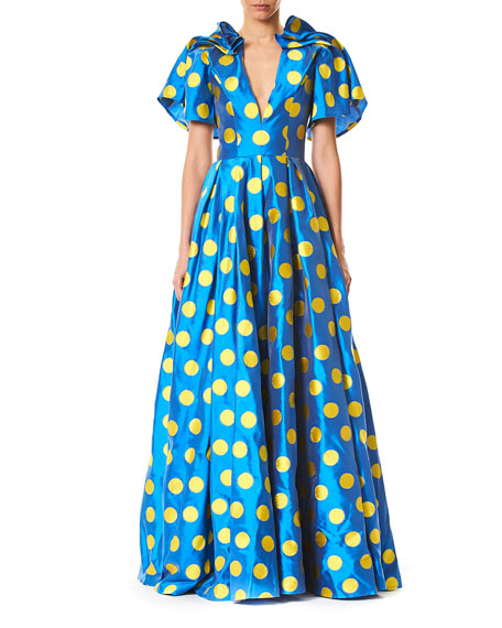 4ba4bc806672 Carolina Herrera Short-Sleeve Polka Dot Taffeta Gown