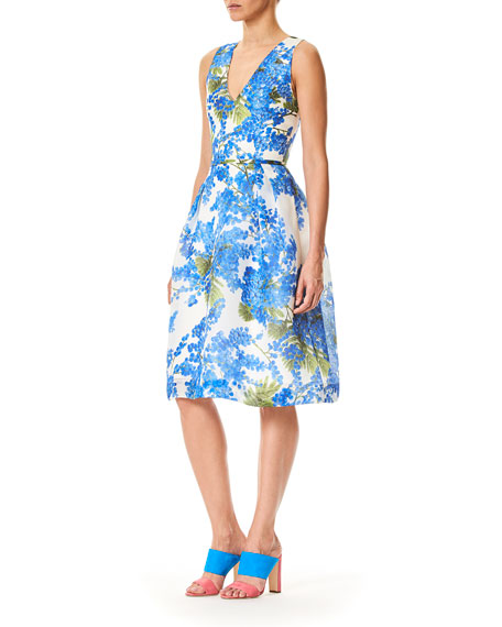 V-Neck Sleeveless Fit-and-Flare Floral-Print Dress