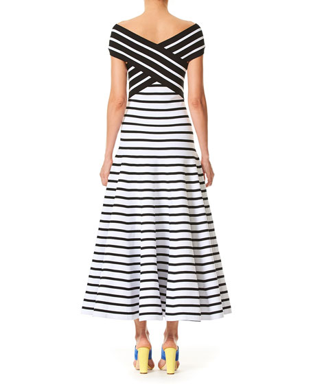 Off-the-Shoulder Fit-and-Flare Striped Tea-Length Knit Dress