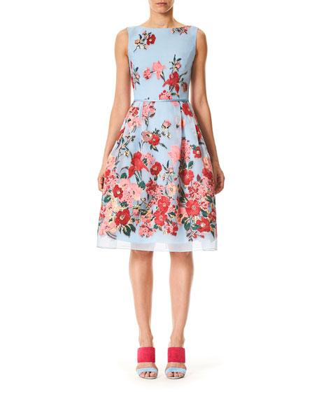 Sleeveless High-Neck Floral-Print Day Dress