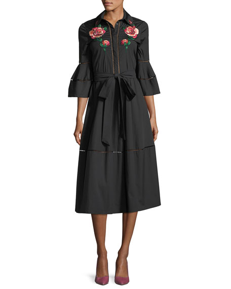 Rose-Embroidered A-Line Shirtdress