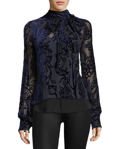 Velvet Devore Mock-Neck Blouse