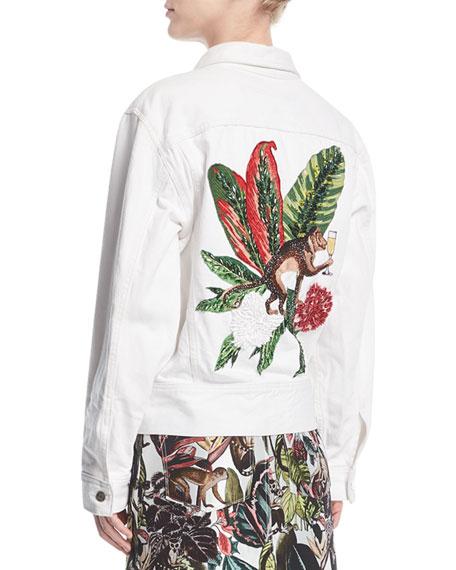 Denim Jacket with Jungle Beaded Back