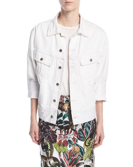 Denim Jacket With Jungle Beaded Back, White