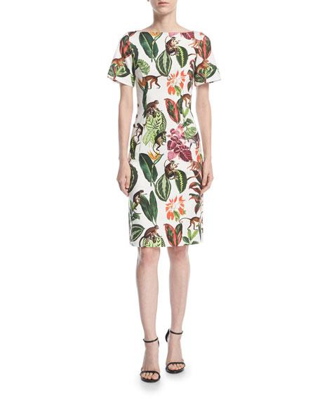 Short-Sleeve Jungle Jacquard Dress