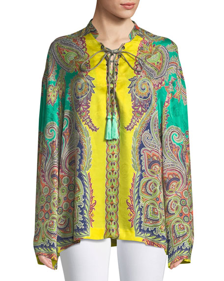 Psychedelic-Print Tie-Neck Tunic