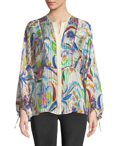 Psychedelic Striped Silk Shirt