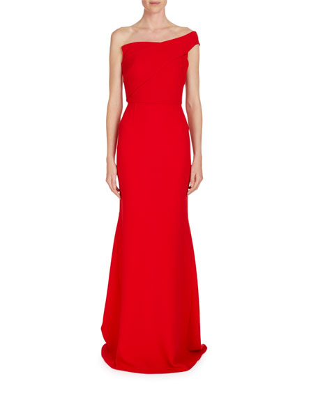 Lockton One-Shoulder Crepe Gown
