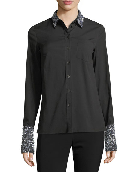 Sequined French-Cuff Shirt