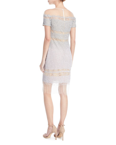 Short-Sleeve Signature Ombre Sequin Dress
