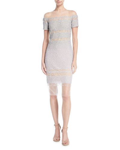 Short-Sleeve Signature Ombre Sequin Dress
