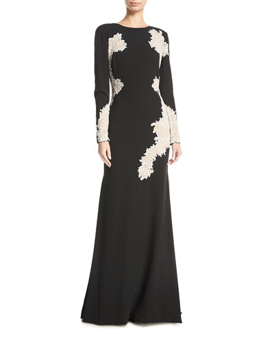 Lace-Embroidered Long-Sleeve Gown