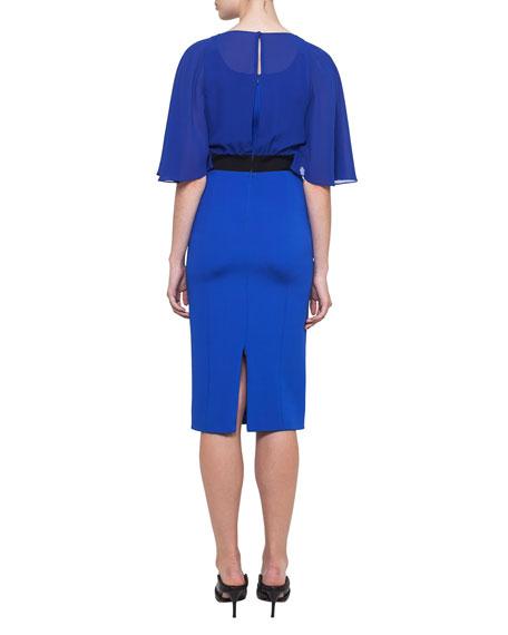 Cape-Sleeve Georgette Dress
